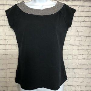 Gap Short Sleeve Top with Striped Neckline